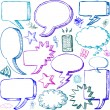 Set of Hand drawn vector Comical Speech Bubbles - Stock Photo