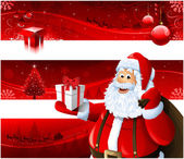 Red Christmas banners and Santa Claus — Stock Photo