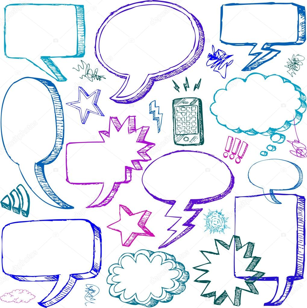 Set of Hand drawn vector Comical Speech Bubbles — Stock Photo #12774321