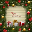Christmas background with gifts and christmas tree - Stock Photo