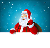 Happy Santa Claus over white blank — Stock Photo
