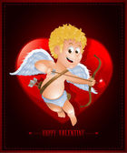 Valentine's Day card with cartoon cupid — Stock Vector