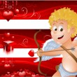 Valentine's Day banners with cupid — Imagen vectorial