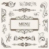 Calligraphic elements vintage vector — Stock Vector