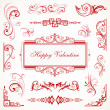 Abstract floral Valentine decorative ornaments — Stock Vector