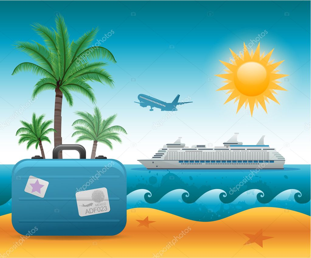 Summer beach holiday vacation background eps 10 — Stock Vector #18752455