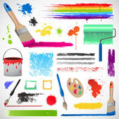 Painting and paint splats elements — Stock Photo