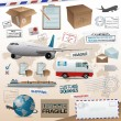 Distribution and shipping elements - Imagen vectorial