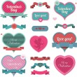 Valentine heart shaped decoration and ribbons — Stok Vektör