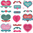 Valentine heart shaped decoration and ribbons - Stock Vector
