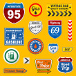 Royalty-Free Stock Vector Image: Set of vintage retro gasoline signs and labels