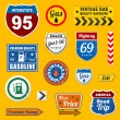 Set of vintage retro gasoline signs and labels — Stock Vector #19550923