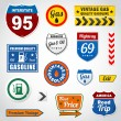 Set of vintage gasoline retro signs and labels - Stok Vektör