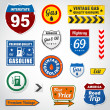 Set of vintage gasoline retro signs and labels — Stock Vector