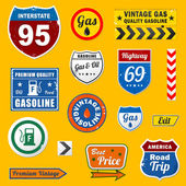 Set of vintage retro gasoline signs and labels — Stock Vector