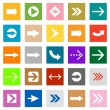 Arrow sign icon set square shape internet button — Stock Vector