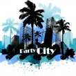 Tropical urban party city background — Stock Vector