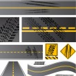 Asphalt road vector with tire tracks — Vector de stock
