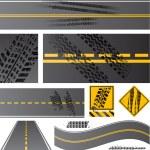 vettore di asfalto stradale con tracce di pneumatici — Vettoriale Stock