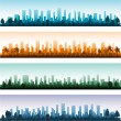 Vector de stock : Cityscape silhouette city panoramas