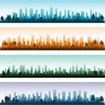 Cityscape silhouette city panoramas — Stock Vector