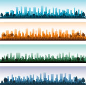 Cityscape silhouette city panoramas — Stock Vector