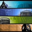 Europe cities Horizontal travel banners — Stock Vector