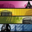 Europe cities Horizontal travel banners — Stock Vector #23552063