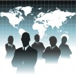 Royalty-Free Stock Vector Image: Businessman team in front of world map