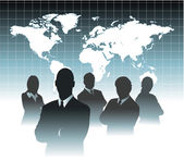 Businessman team in front of world map — Stock Vector