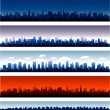 Set of vector cities silhouette — Vector de stock