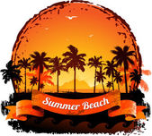 Summer holidays tropical sunset background — Stock Vector