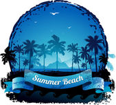 Beautiful blue tropical summer vacation background — Stock Vector