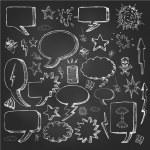 Speech bubbles doodles in black chalkboard — Stock Vector