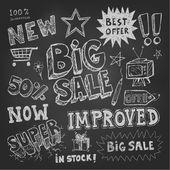 продажа тег и ценообразование каракули — Cтоковый вектор