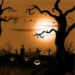 Creepy tree Halloween background with full moon — Stock Vector