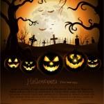 fond halloween effrayant d'arbre avec la pleine lune — Vecteur