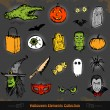Hand drawn Halloween doodles collection set — Stock Vector