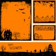 Multiple orange Halloween banners and backgrounds — 图库矢量图片