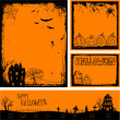 Multiple orange Halloween banners and backgrounds — Stock Vector