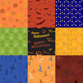Nine Halloween texture pattern collection set — Vettoriale Stock