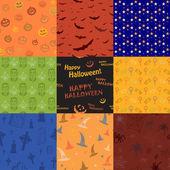 Nueve halloween textura patrón colección conjunto — Vector de stock