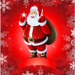 Vector de stock : Red Christmas greeting card with santa claus