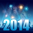 Happy New Year 2014 with fireworks and city — Imagen vectorial