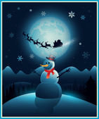 Christmas winter snowman background greeting card — Stock Vector