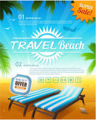 Summer beach vacation background — Stock Vector