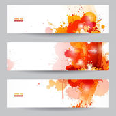 Three abstract artistic headers with paint splats — Stock Vector