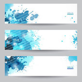 Three abstract artistic headers with blue splats — Stock Vector