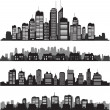 Set of vector cities silhouette and buildings — 图库矢量图片