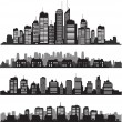 Set of vector cities silhouette and buildings — Stock Vector